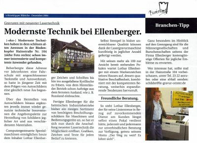 Modernste Technik bei Ellenberger Biedenkopf