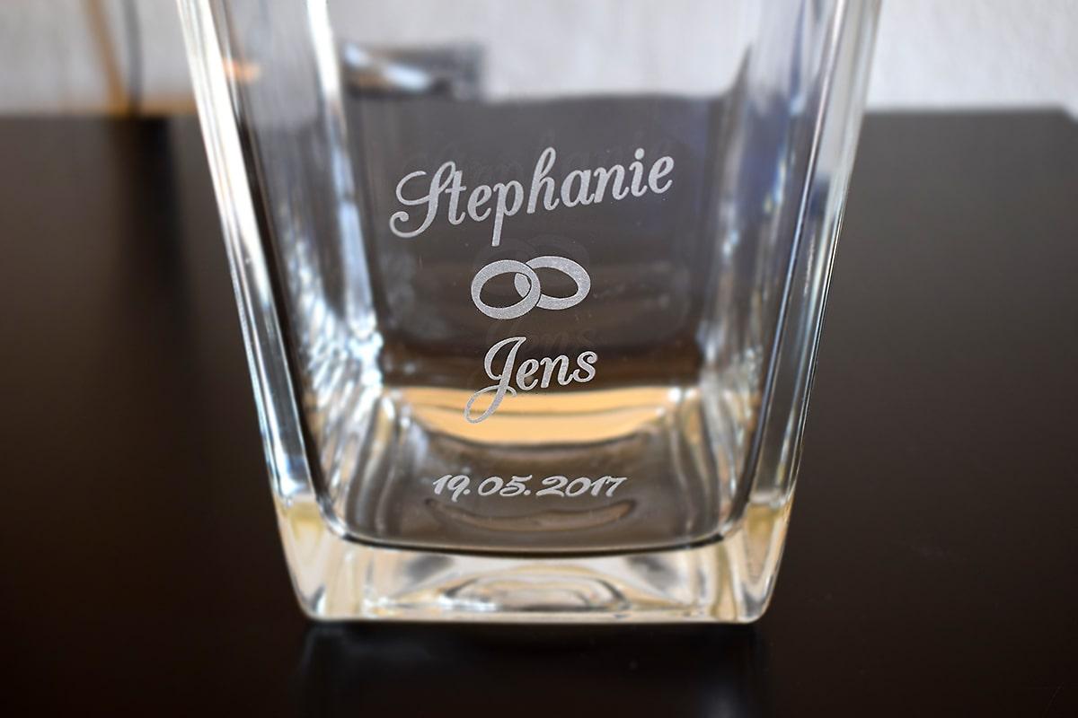 Hochzeitsgeschenk Vase mit Gravur