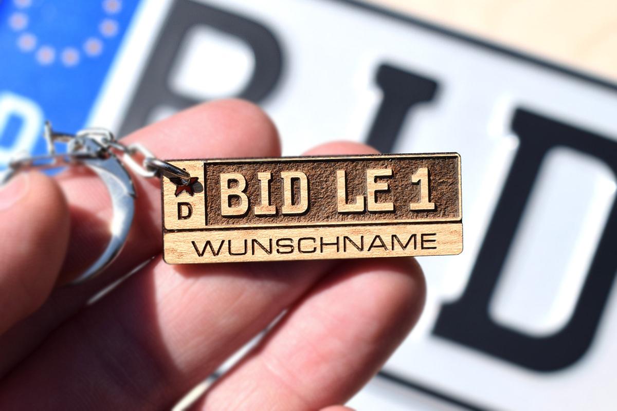 Kennzeichen Schlüsselanhänger Holz