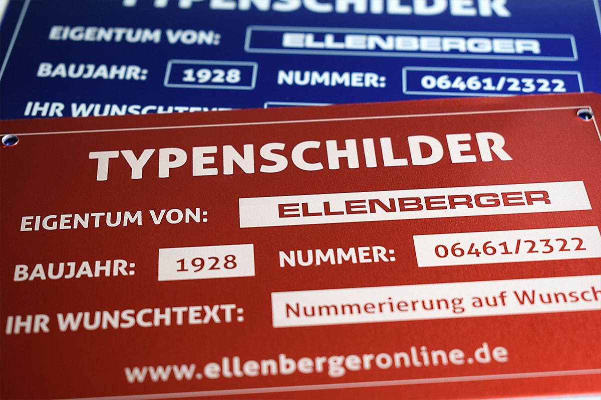 Typenschilder Aluminium Gravur Ellenberger Biedenkopf