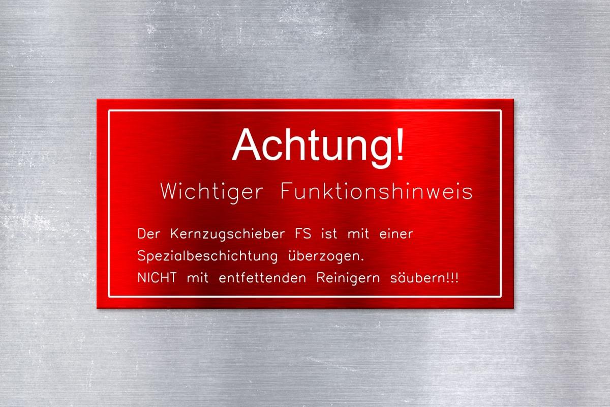 Achtung Warnschild aus Aluminium