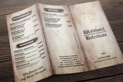Speisekarte Waldhotel Haferkiste Bad Laasphe Flyer