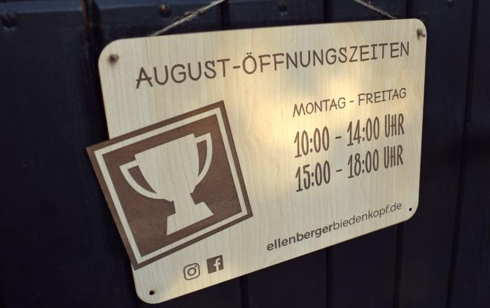 Öffnungszeiten Holzschild Firmenschild