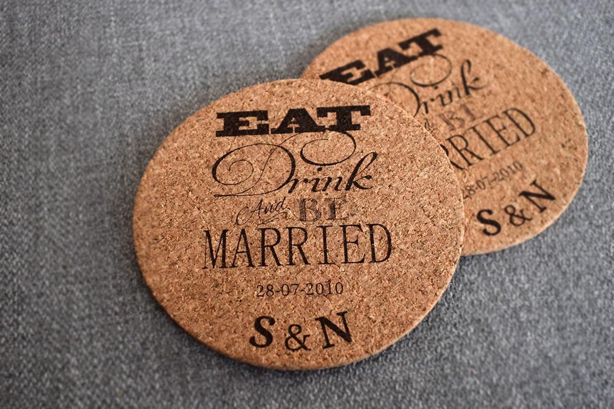 Wedding coasters Eat drink be married